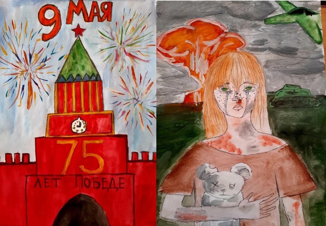Московский кремль и вспышки салютов – символы Победы, Слезы, оружие, взрывы – все соединилось в детском воображении